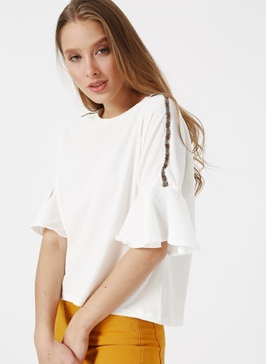 Koton Koton Omuz Detaylı Volanlı T-Shirt Ekru